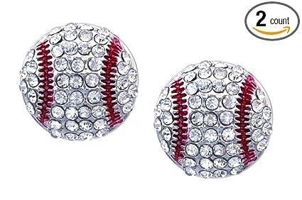 7a3a1e57d Amazon.com: Kenz Laurenz Baseball Earrings Stud Posts: Sports & Outdoors