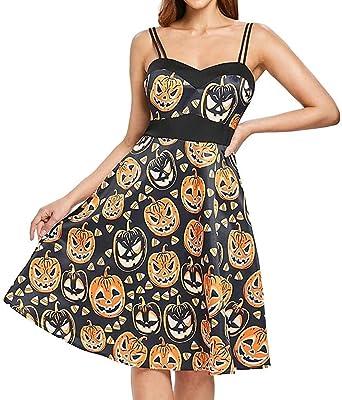 Ausverkauf Angebote Frau Kostüm Mode Halloween A Linie Spitze Kurzarm Party Casual Täglichen Vintage Kleid Abend Party Kleid (Color : X3-B-Orange, Size : 34): Odzież