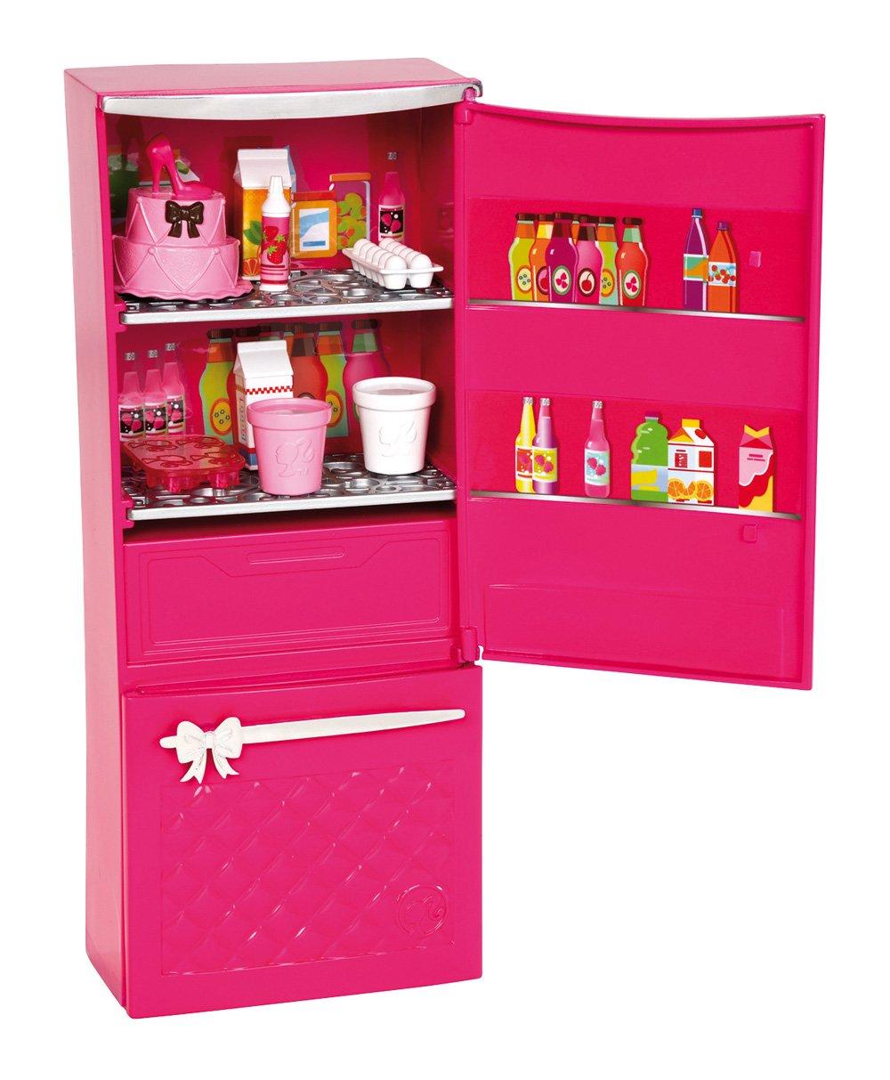 Mattel Barbie X7937 - Möbel Sortiment Kühlschrank, befüllt: Amazon ...