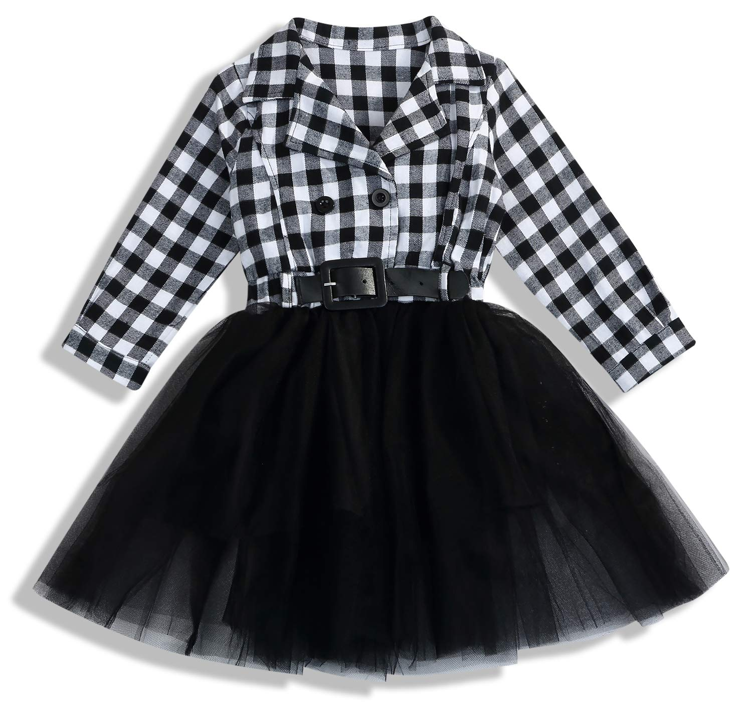 7ce0a8f16 Galleon - Little Kids Baby Girl Dresses White And Black Plaid Tutu Skirt  Party Princess Formal Outfit Clothes (Black, 5-6 T)