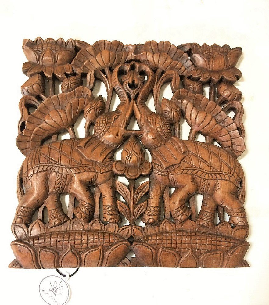 audomnaショップ木材彫刻壁パネル。Elephant Carved壁装飾。サイズ17