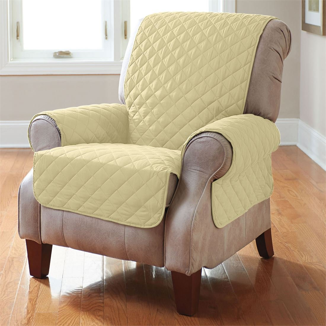 BrylaneHome Bh Studio Water-Repellent Microfiber Recliner Protector (Yellow,0)