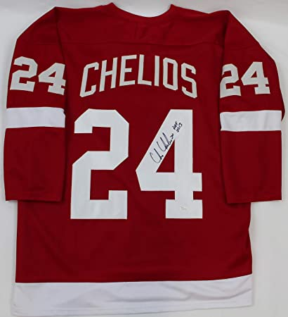 d5bb59822a9 Image Unavailable. Image not available for. Color  Chris Chelios  Autographed Red Detroit Red Wings Jersey ...