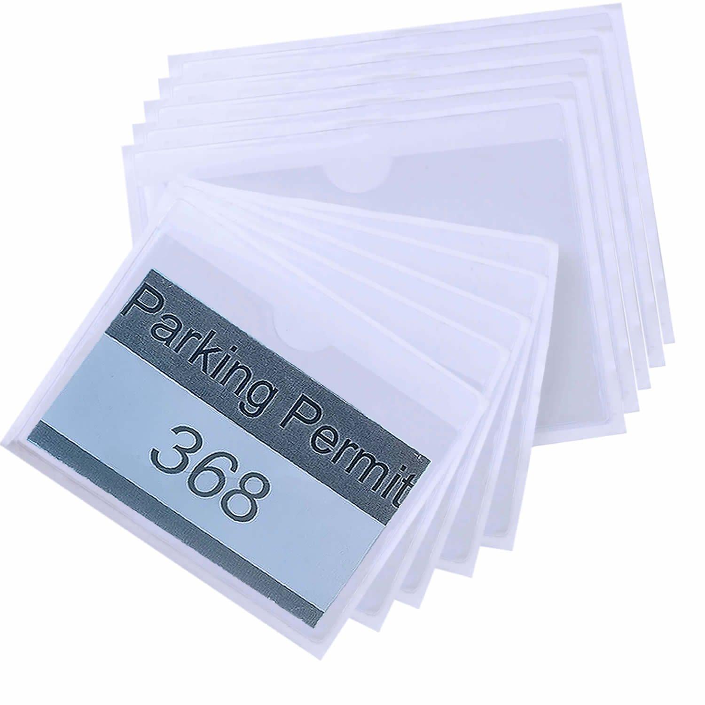 euhuton 10 pcs permis de parking Supports Supports de badges d'identification en plastique transparent Poche Pochettes pour pare-brise de voiture 2 tailles