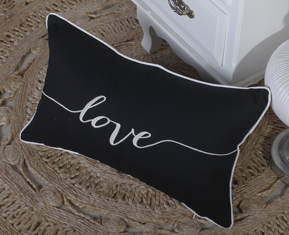 12X20, Black ADecor Pillow Covers Love Lumbar pillow cases pillow covers embroidered cushion couple wedding anniversary P328