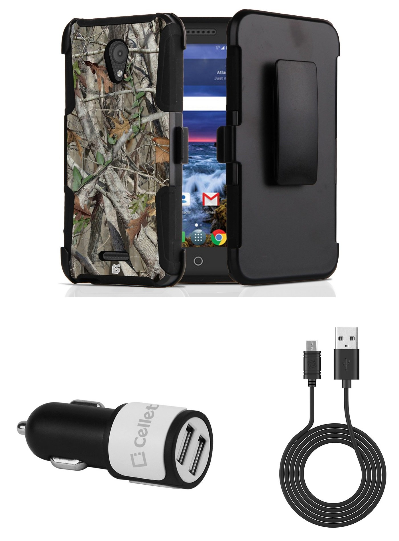 Alcatel Raven LTE | Verso | IdealXCITE | CAMEOX - Bundle: Dual Layer Shockproof Kickstand Belt Holster Case - (Camo), 10W High Powered Dual Car Charger, Micro USB Cable, Atom Cloth