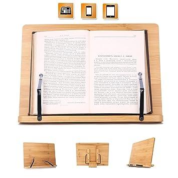 Kurtzy Soporte Para Libros de Cocina - Bambú Atril para Libros de Recetas (33,