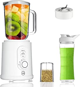 Lumme countertop Blender 3 in 1 Table Blender, Ultra strong blending machine, Pulse and ice crush modes, adjustable speed, personal to-go bottle and coffee-bean grinder included