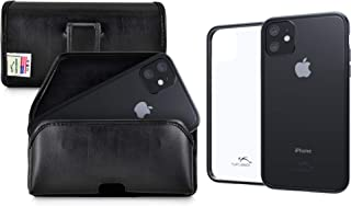 product image for Turtleback Hybrid Case/Holster Combo Designed for New iPhone 11 (2019) 6.1 Inch, Anti-Scratch Ultra Clear Back Protective Case Fitted in Black Leather Belt Pouch, Executive Belt Clip-Horizonal/Black