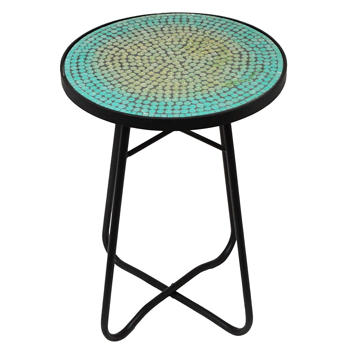 Urban Designs Mosaic Turquoise Round Accent Table