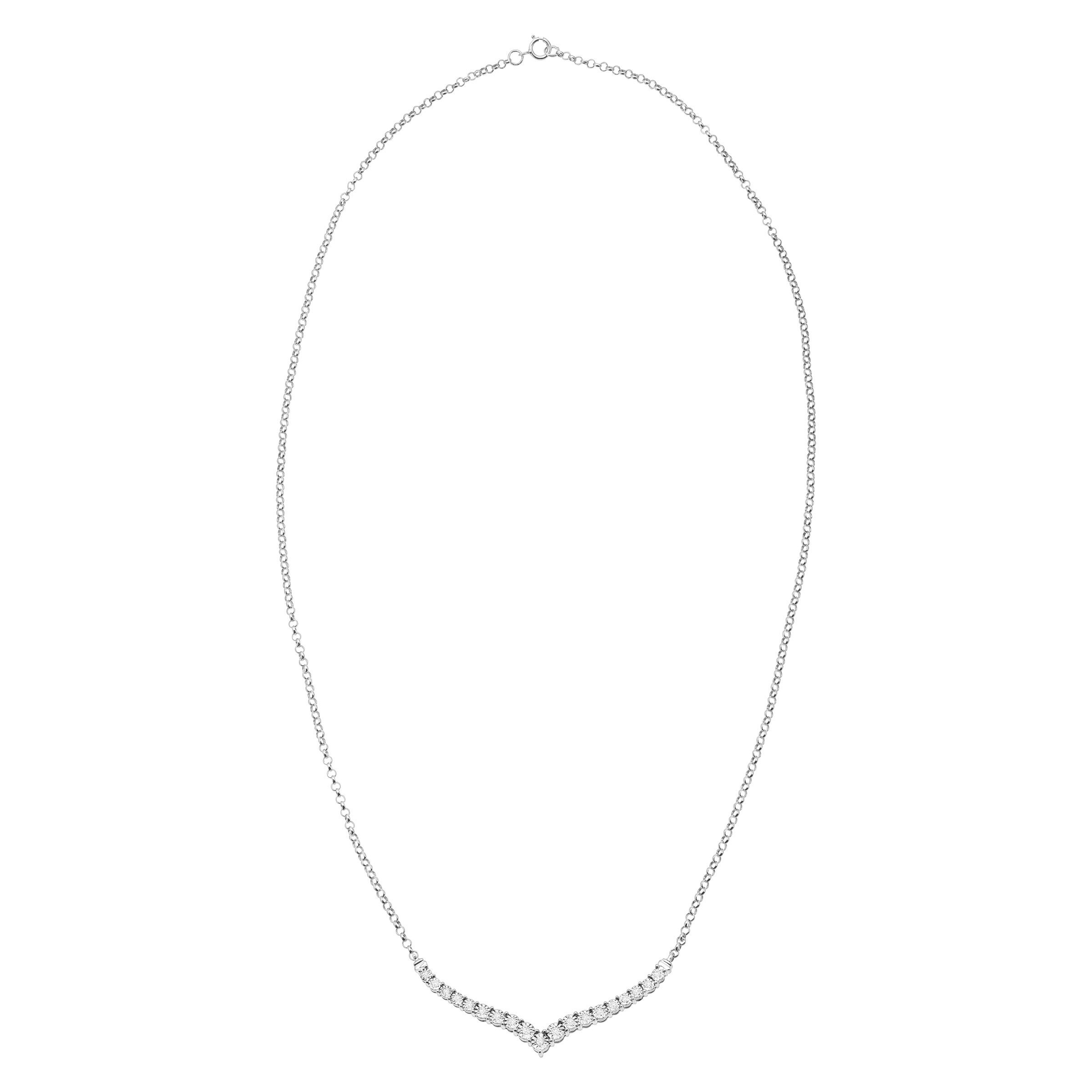 1/4 ct Diamond Chevron Necklace in Sterling Silver by Finecraft (Image #1)