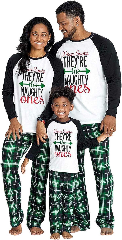 IFFEI Matching Family Pajamas Sets Christmas PJ's Letter Print Top and Plaid Pants Sleepwear