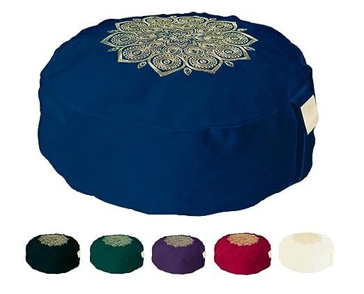 Om Vita 100% Zafu Meditación ecológica con Diseño de Mandala y Funda Lavable (Green Stitched)