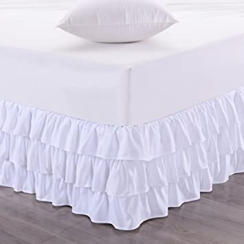 Sweet Home Collection Waterfall Bed Skirt Unique Dust Three Ruffled Tier Layer Design with 14 Drop, King, White