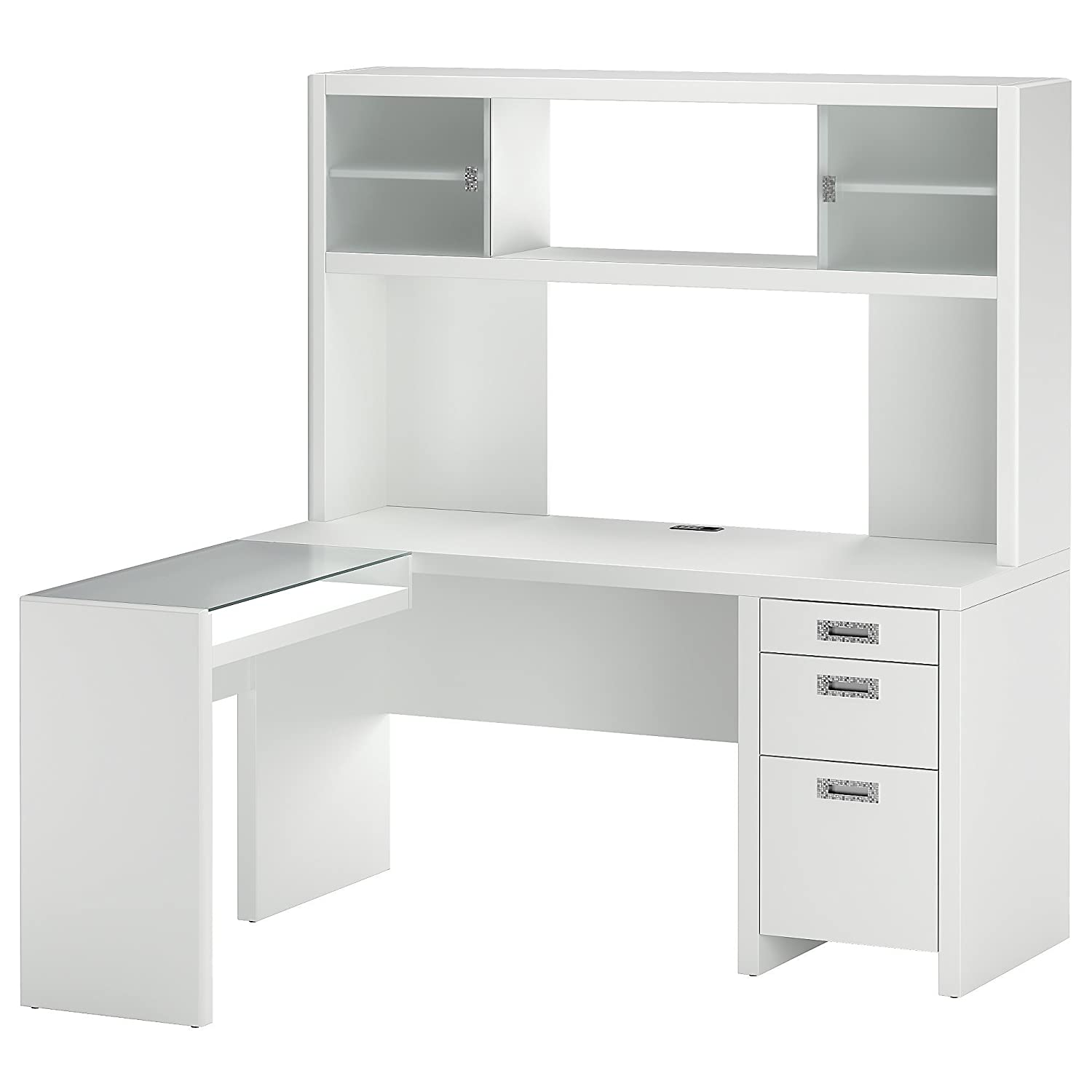 Lovely Amazon.com: Kathy Ireland Office By Bush Furniture L Desk And Hutch,  Plumeria White: Kitchen U0026 Dining