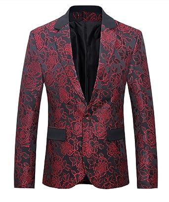 054ad56095c71 MOGU Mens 1 Button Floral Cotton Blazer Sport Coat Jacket US Size 32 Red
