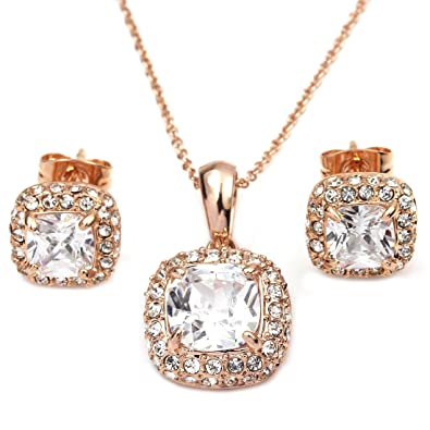 6760b926e8a93 FC JORY Rose Gold GP Princess Crystal CZ Square Bridal Necklace Earrings  Studs Jewelry Set