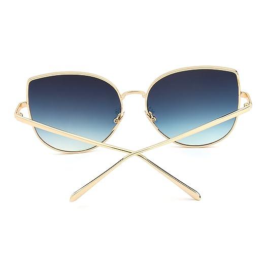 9070548772d065 Lunettes de Soleil Oversize Œil de Chat Plat Lunette Solaire Verre Miroir  Monture Or pour Homme Femme Rouge  Amazon.fr  Vêtements et accessoires