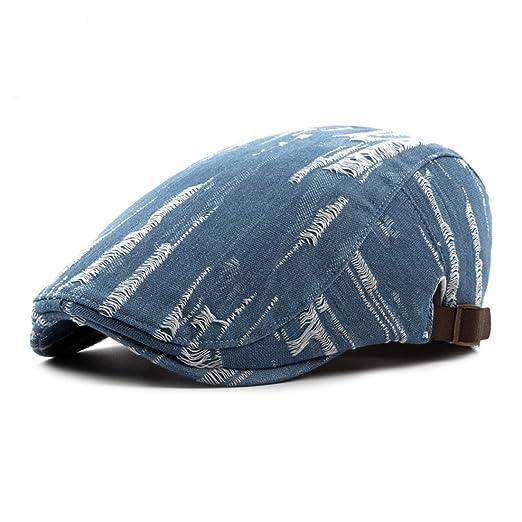 WAZZIT Denim Flat Newsboy Cap Jeans Caps Old Fashion Cowboy Cap Driver  Hunting Hat - Light a568b7de477