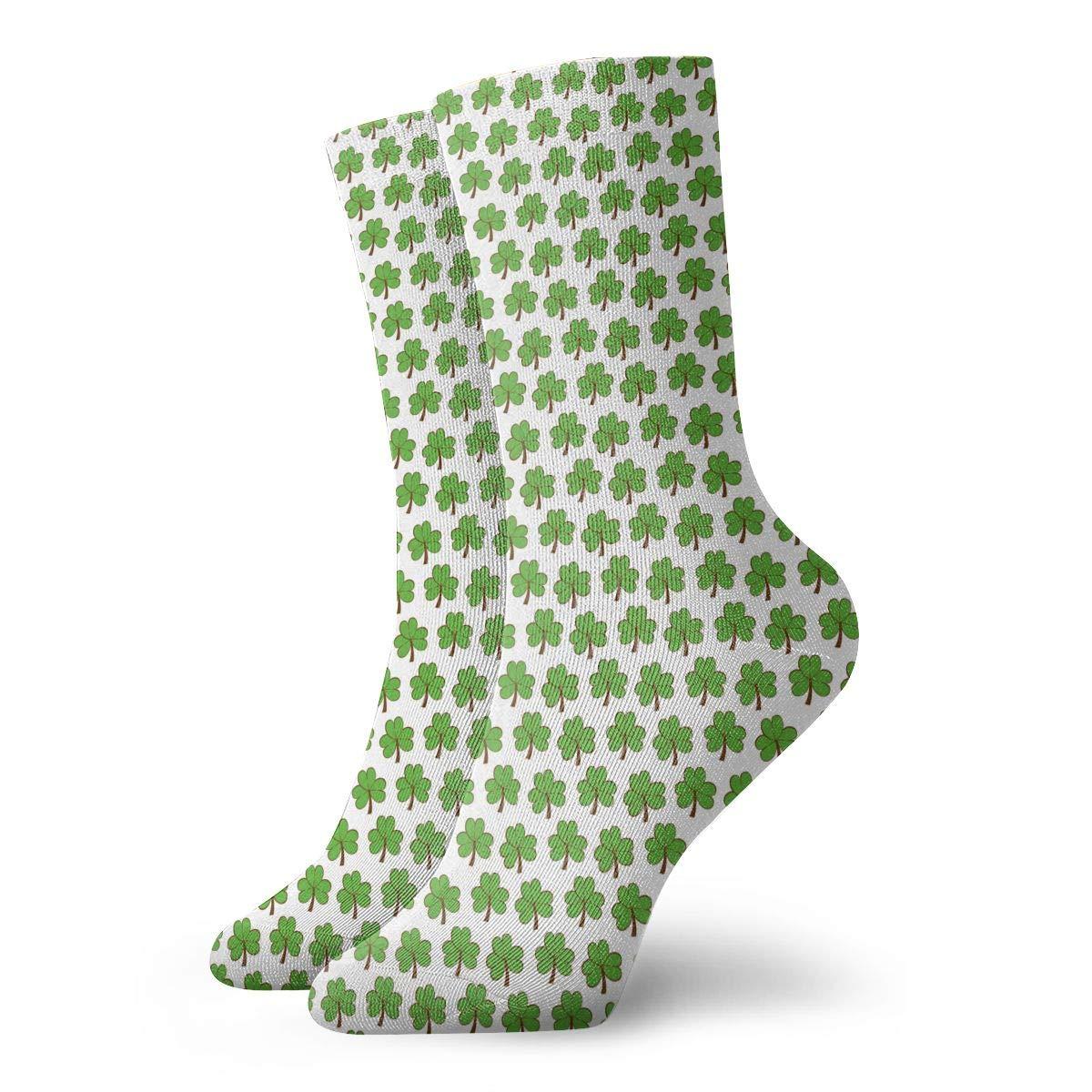Unisex Clover Patricks Day Green Athletic Quarter Ankle Print Breathable Hiking Running Socks