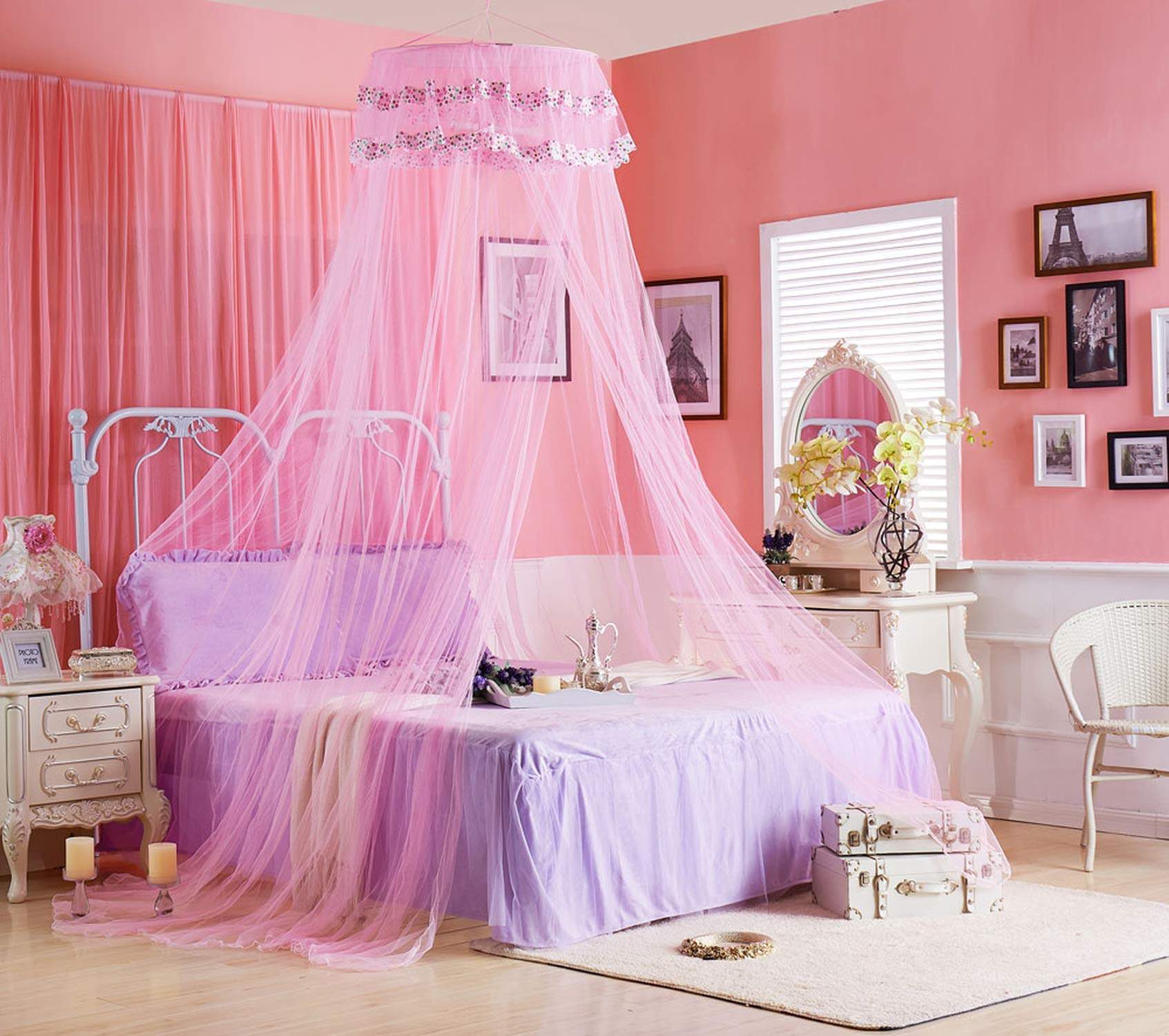 Portable Mosquito Net for Bed Canopy Round Canopy Netting Mesh Lace Curtain Bed Tent Anti Bug Insert Cibinlik Purple Nets,Pink,1.5m (5 feet) Bed by SuWuan mosquito net (Image #2)