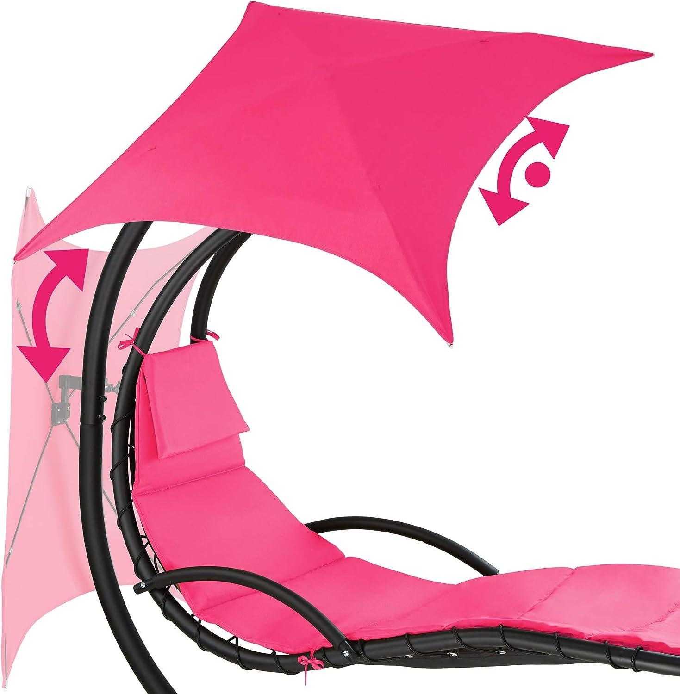 TecTake 800699 Fauteuil Suspendu avec Support et Pare-Soleil Protection UV Plusieurs Coloris - Rose | no. 403383 2 Coussins Inclus 195 x 118 x 202 cm Surface de Couchage Ergonomique