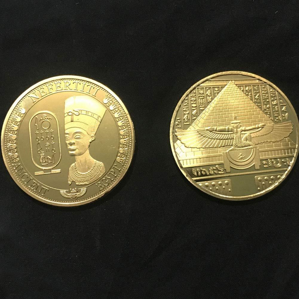 /Golden Golden Derkoly Solid Egyptian Nefertiti Figura in Rilievo Collection Moneta commemorativa Gift/
