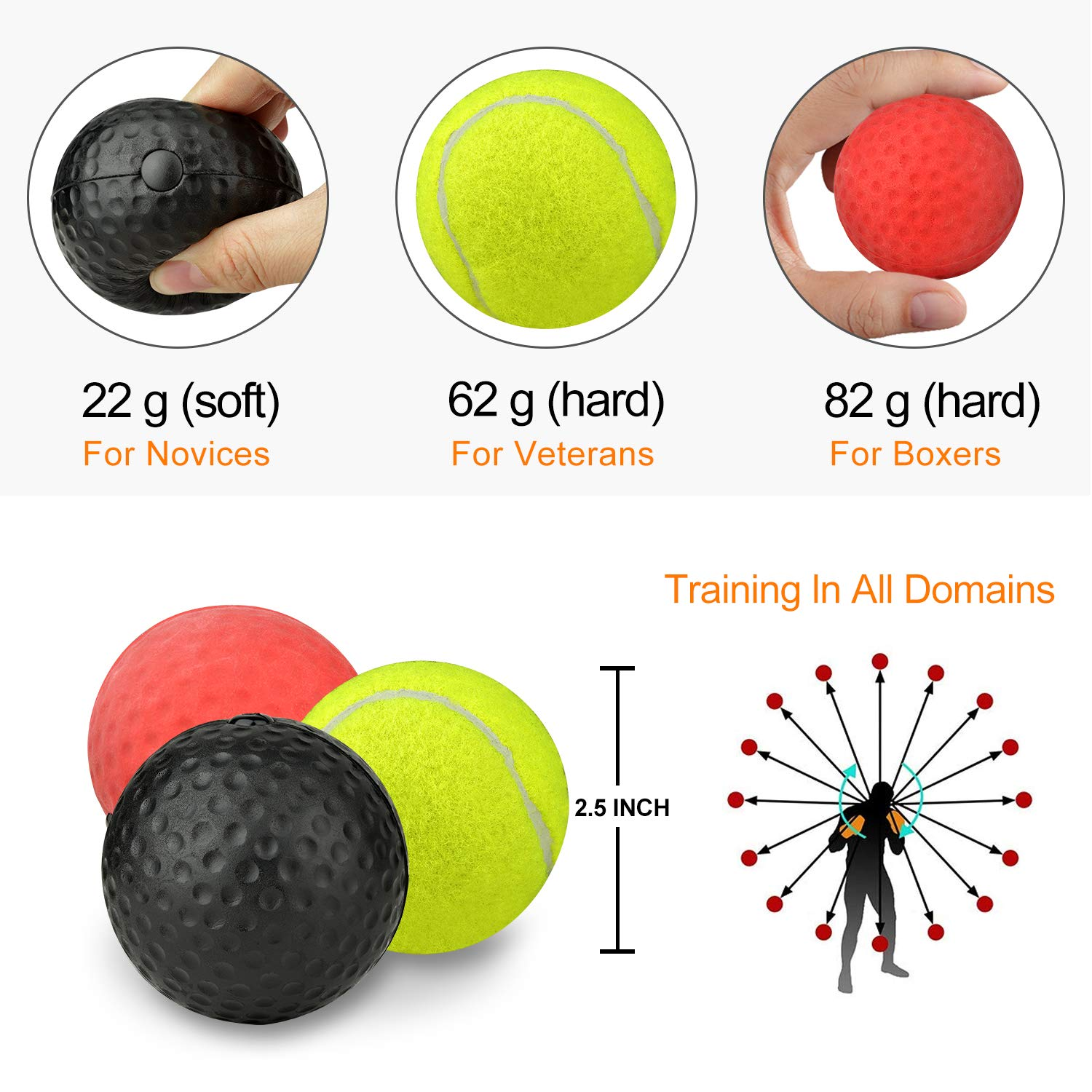 Himover Boxing Reflex Ball on String, 3 Difficulty Levels Boxing Fight Ball with Headband, Training Equipment Perfect for Reaction, Agility, Punching Speed, Hand Eye Coordination Skill
