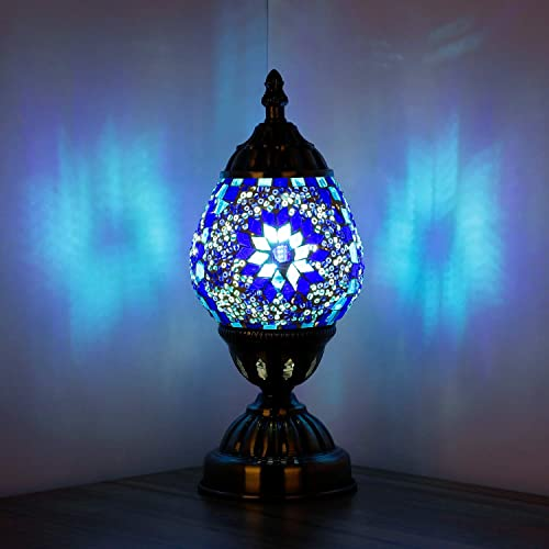 Marrakech Turkish Table Lamp Handmade Mosaic Glass Egg Shaped Moroccan Lantern Decorative Desk Night Light for Bedroom Living Room with E12 LED Bulb Blue