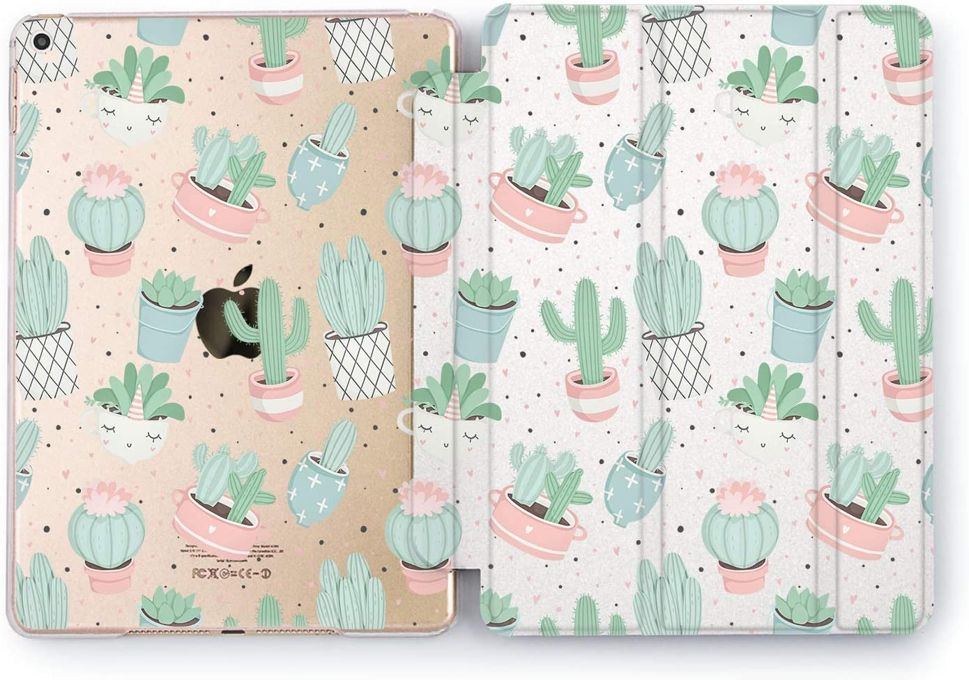 Wonder Wild Cactus Pattern iPad Pro Case 9.7 11 inch Mini 1 2 3 4 Air 2 10.5 12.9 11 10.2 Design 5th 6th Gen Clear Smart Hard Cover Succulent Pot Nature Greenery Indoor Grow Tropical Cacti Cute