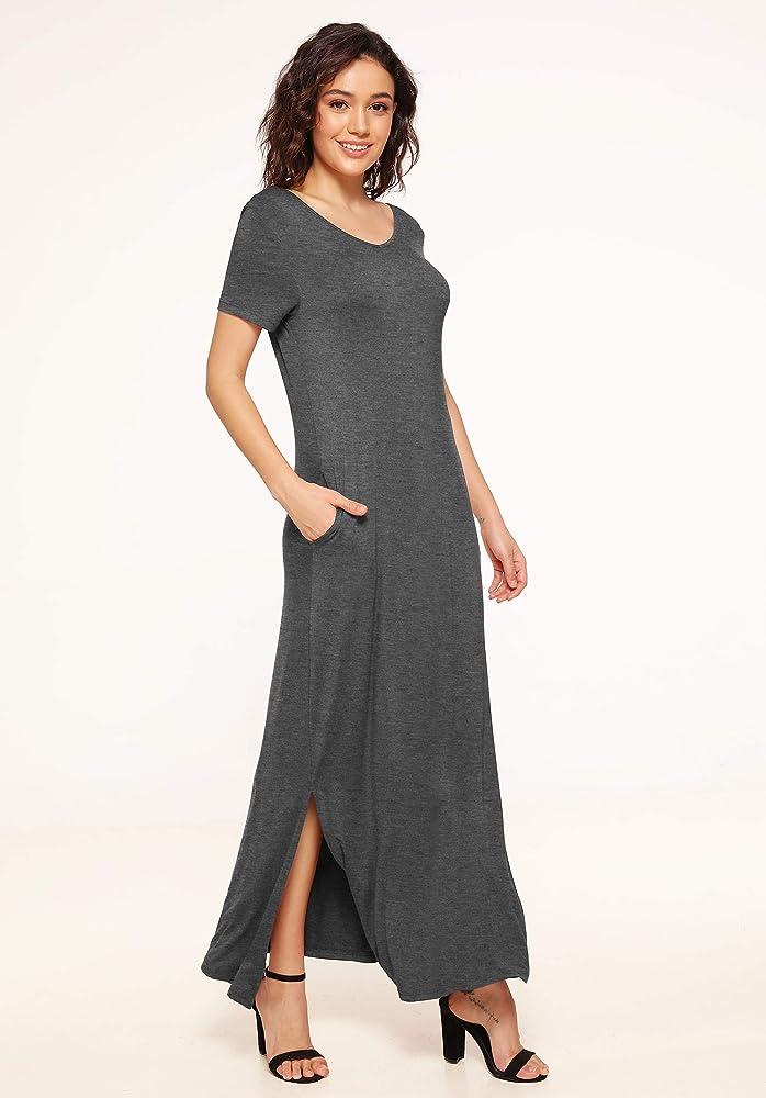 Womens Ladies High Waist Scoop Neck Side Double Split Long Maxi Slit Top Dress