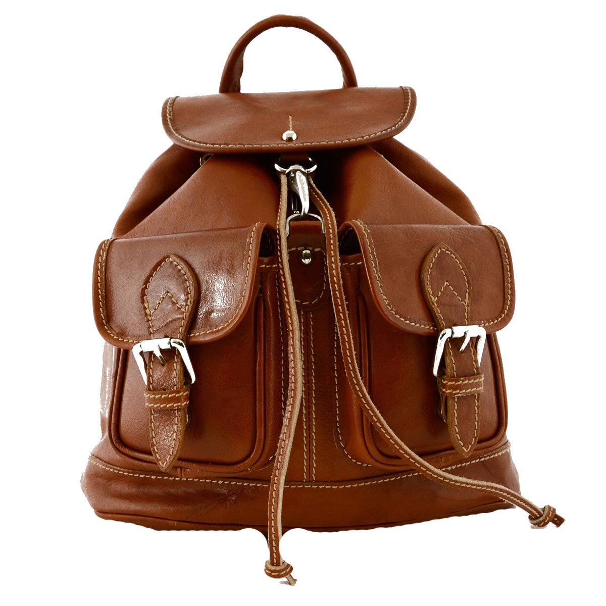 Made In Italy Leather Woman Backpack Color Cognac - Backpack   B01AU9K24Y