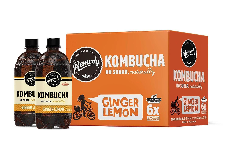 Remedy Raw Organic Kombucha - Sparkling Live Cultured Drink - Sugar Free Ginger Lemon - 20 Fl Oz Bottle, 6-Pack