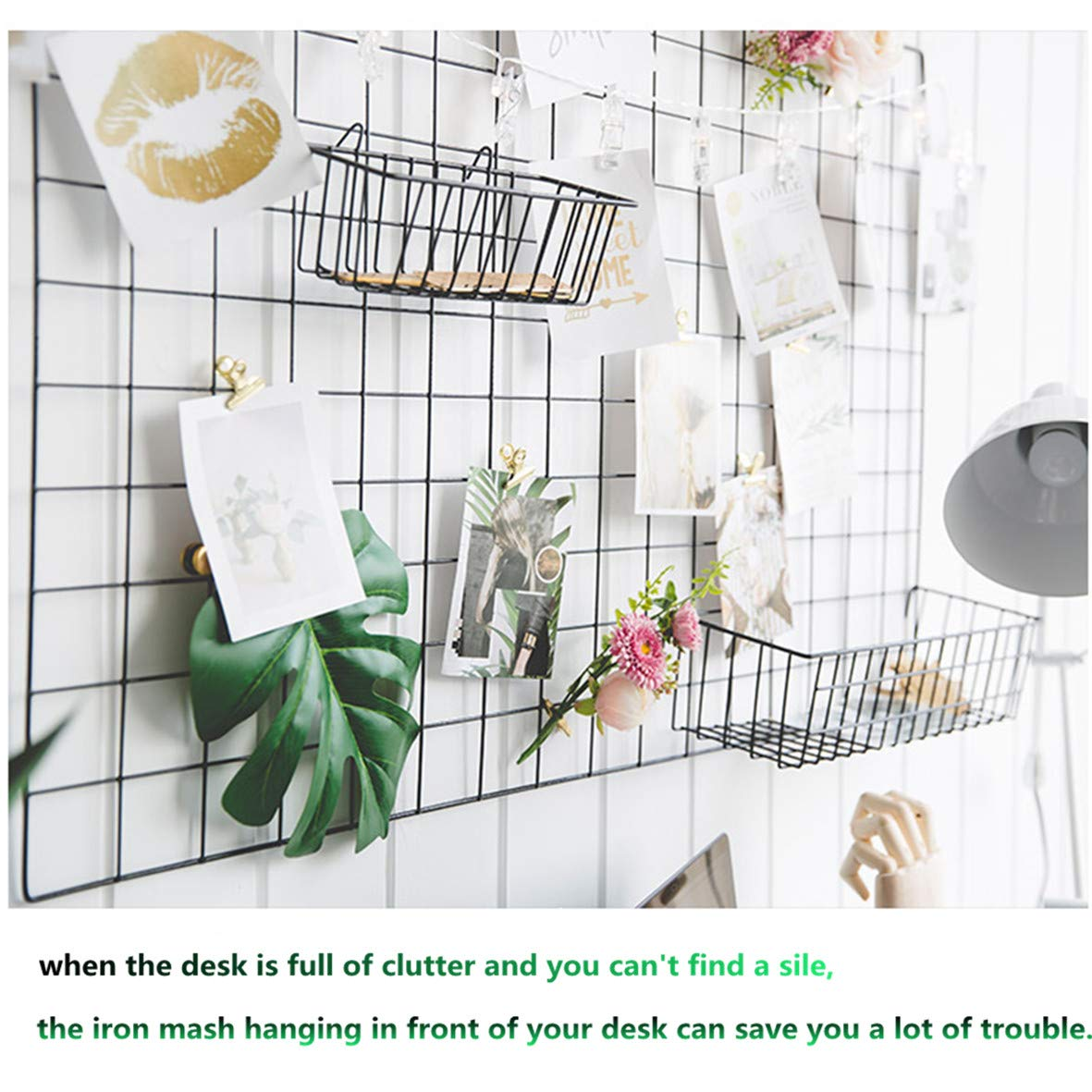 GBYAN Grid Wall Panel Decorative Iron Rack Clip Photo Holder, Painted Wire Photograph Hanging Picture Multifunctional Hanging Display Wall Storage Organizer,25.6'' x17.7'' (2 Pack) (Black Rectangle) by GBYAN (Image #3)