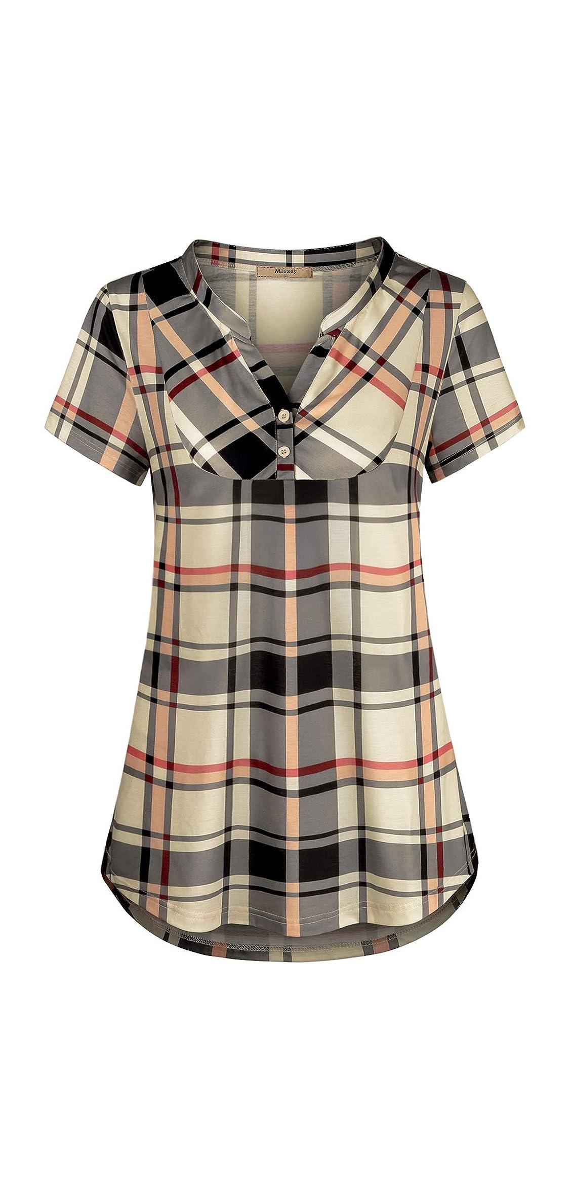 Womens Notch V-neck Plaid Shirt Blouse Casual Swingy A