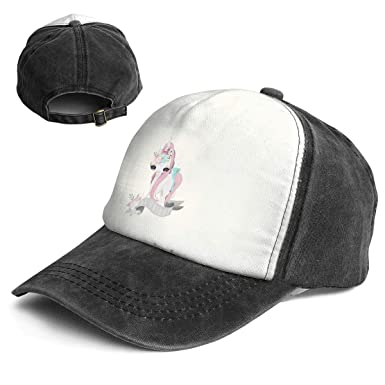 d0d1a750471 Fashion Vintage Hat Cute Baby Unicorn Girl Adjustable Dad Hat Baseball  Cowboy Cap Black and White