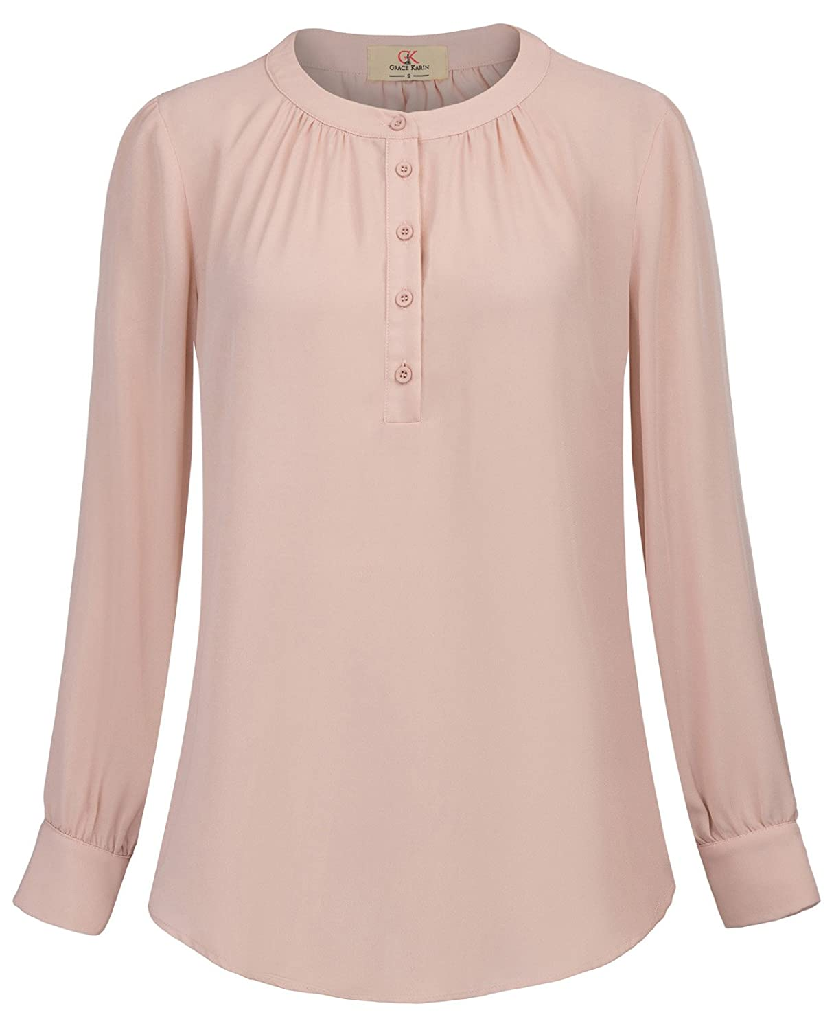 GRACE KARIN Womens Round Neck Blouses Long Roll-up Sleeve Button Casual Shirt Size 2XL Pink at Amazon Womens Clothing store: