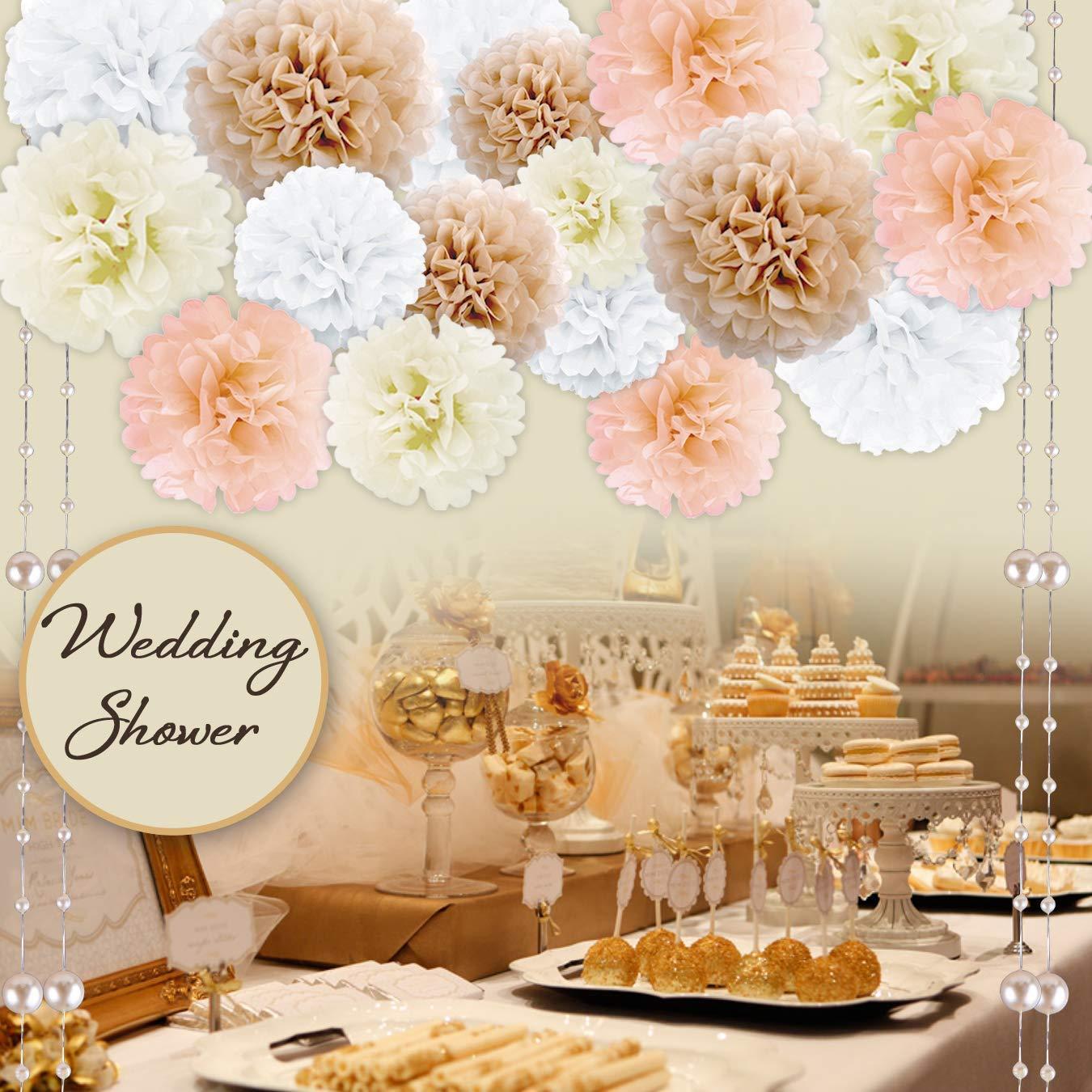 Party Dekor Pom Pom Set Baby- /& Brautduschen Papier Gewebe Pompons / f/ür Feiern /& Events Geburtstag 20 St/ück Hochzeiten Wei/ß, Elfenbein, Pfirsich, Champagner : Neutral Color Blumendekorationen