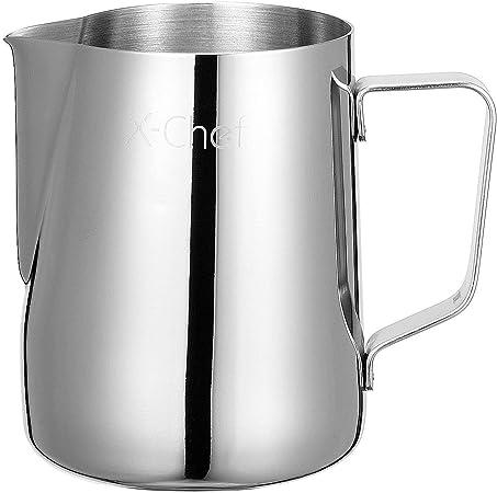 mug /à lait Pichet /à mousser /à lait en acier inoxydable /épais pour expresso /à la vapeur argent 600ml caf/é latte