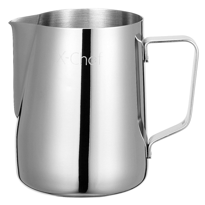 X-Chef Pot à Lait 600ml, acier inoxydable Lait Pichet Pichet mousser Tasse à mesurer avec marquages de Interne, Parfait pour faire du café, du latte et du cappuccino 201021