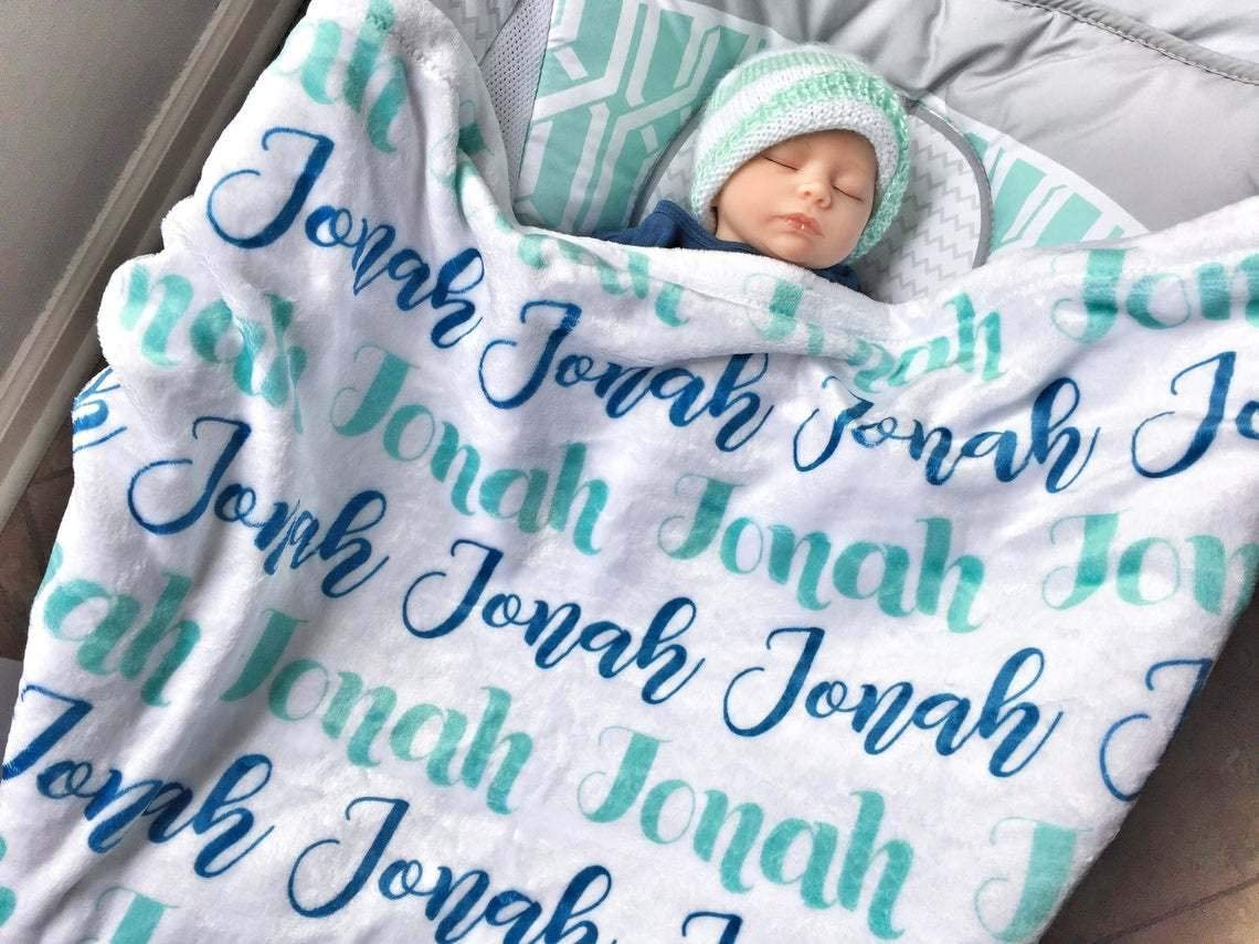 Personalized Swaddle Blanket Baby Name Blanket Baby Girl Name Blanket Baby Shower Gift- Fleece Baby Blanket Custom Baby Blanket
