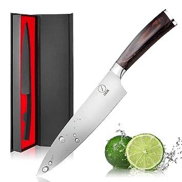 DEIK Cuchillo Chef, Cuchillo de Cocina de 20cm de Acero Inoxidable Importado 1.4116, Balanza de Grado Profesional y Súper Afilado con Mango Ergonómico ...