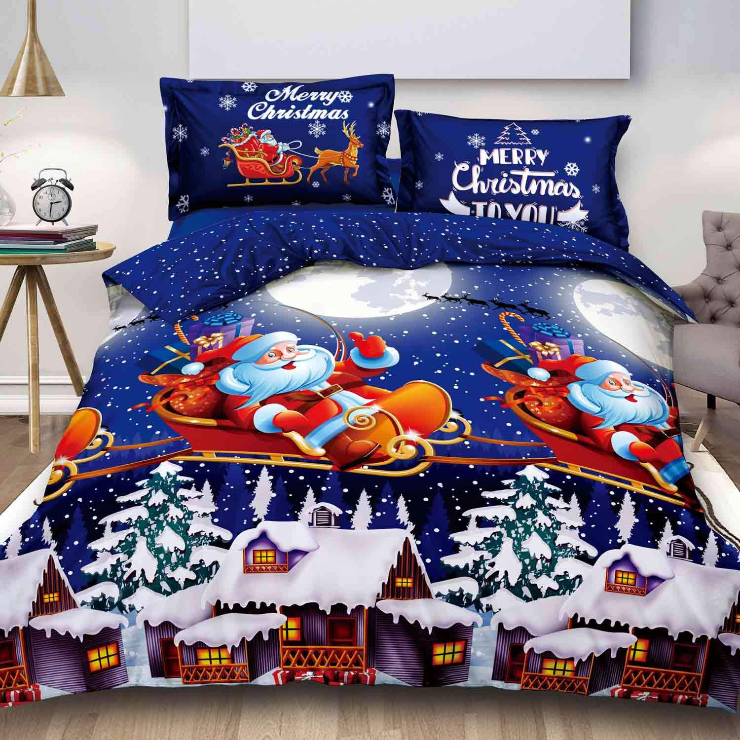 Navy Blue Snow House Pattern Microfiber Comforter Cover with Zipper Closure, Ties - Best Modern Style for Men Women Teen