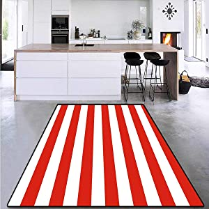 Geometric, Kids Carpet Playmat Rug, Classical Striped Pattern Bold Lines in Horizontal Direction Old Fashioned, Area Rug Dorm Room 4' x 6' Vermilion White