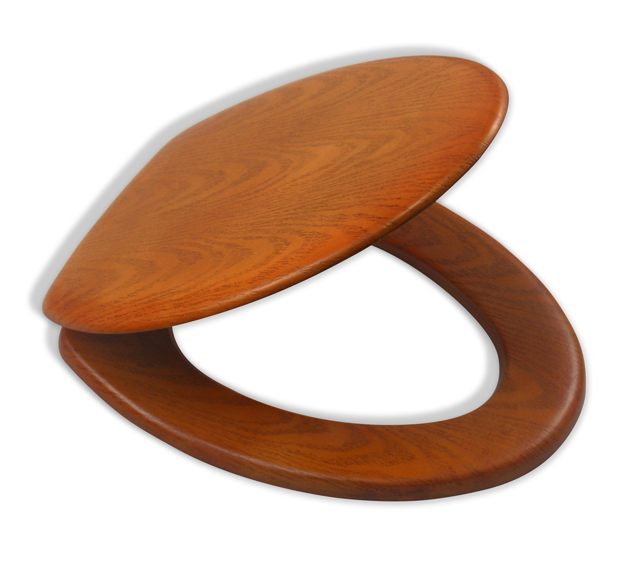 LDR 050 1750CP Elongated Molded Wood Toilet Seat with Chrome Hinges Oak Style Finish