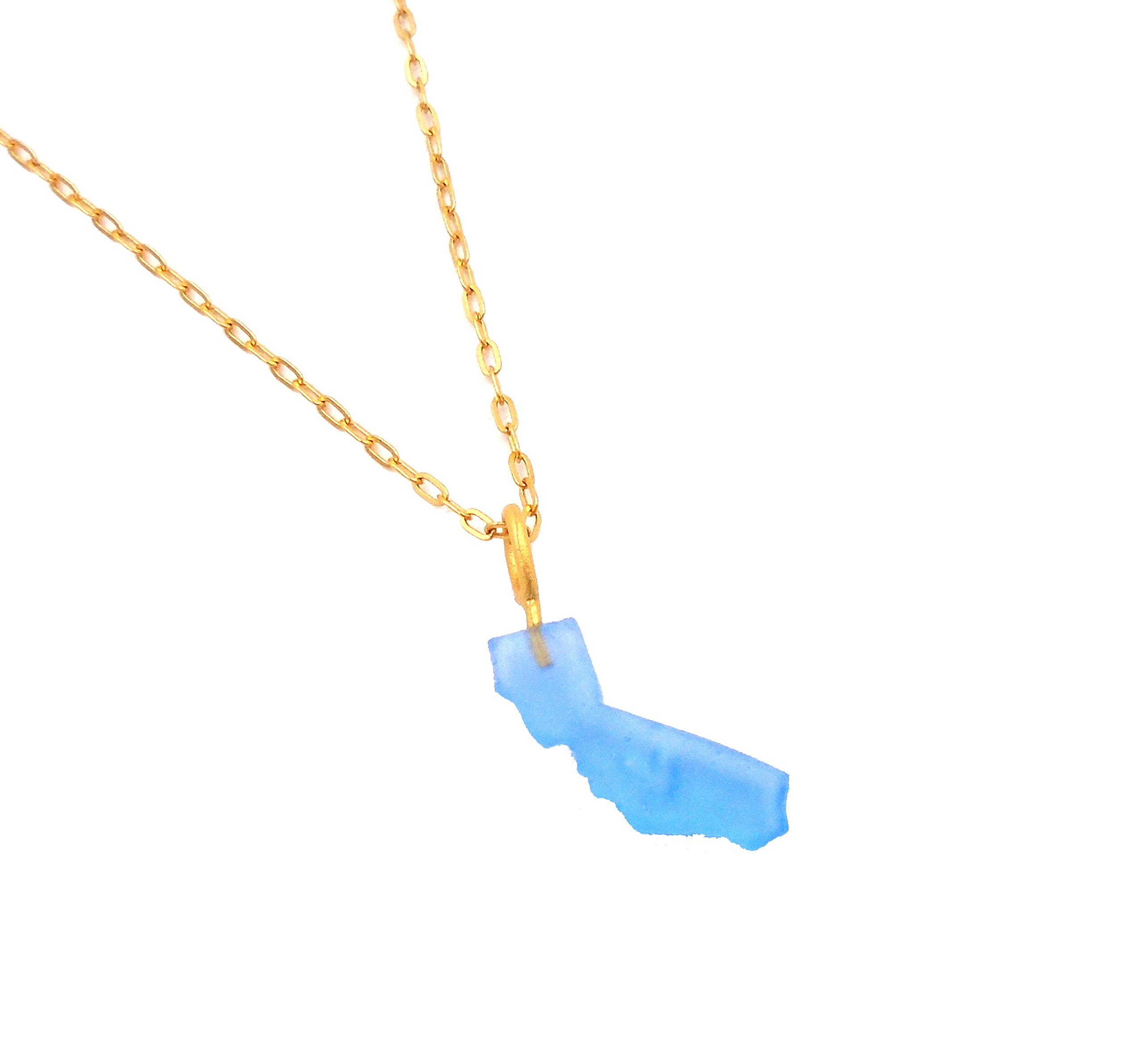 Michael Vincent Michaud- Glass ''California Pendant Necklace'' in Perriwinkle by Michael Vincent Michaud