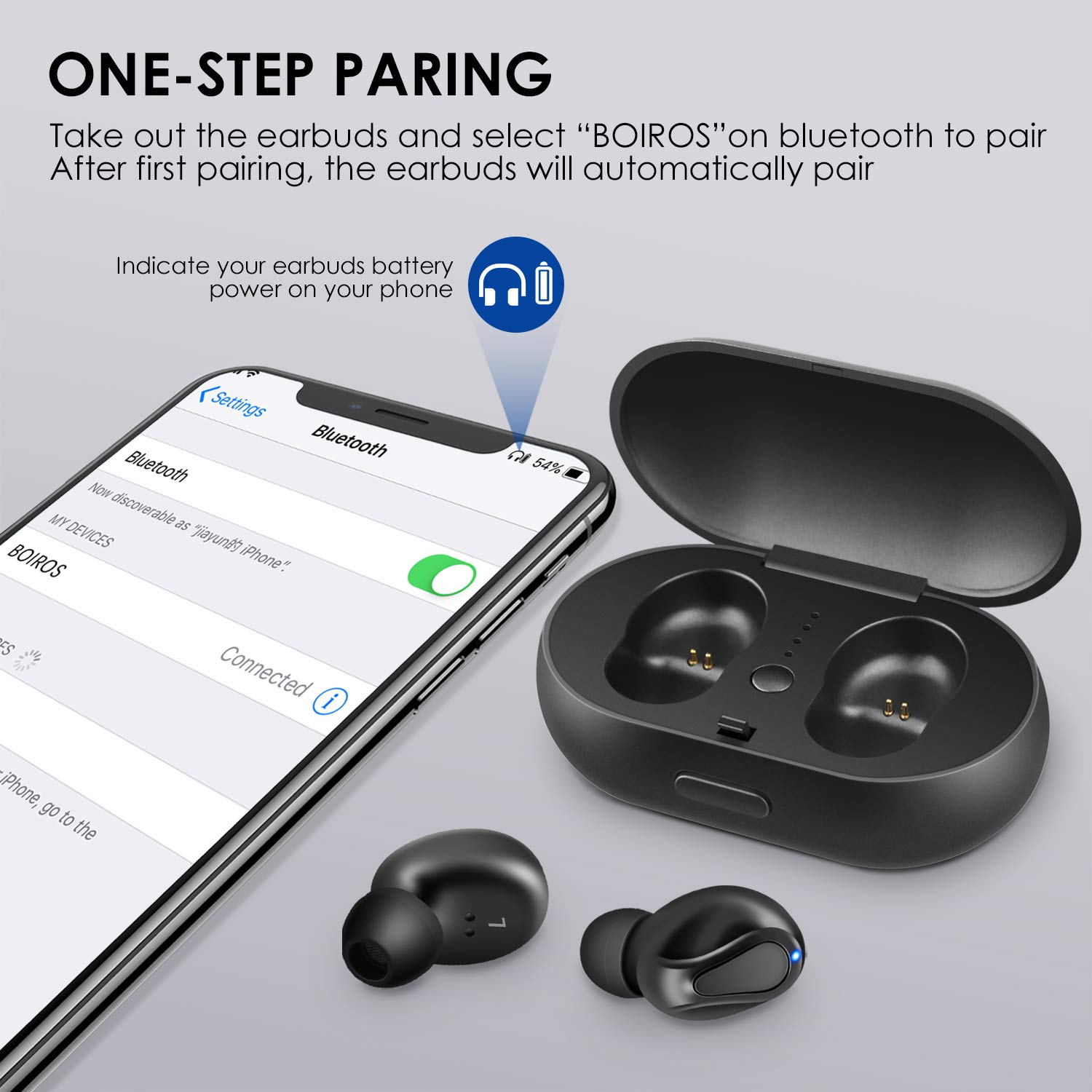 True Wireless Earbuds Bluetooth 5.0 Earphones – Wireless in Ear Headphones Headset Stereo Sound Deep Bass Built in Mic Single Twin Mode 24H Playtime with Charging Case for Sport Running