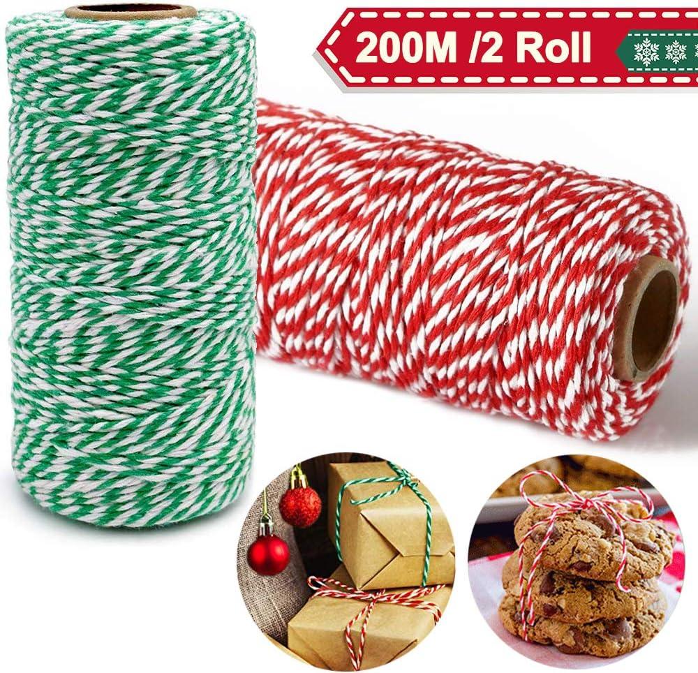 Cordel Verde Rojo y Blanco 200M, Cordel Hilo de panadero/cordel de carnicero/cordel de jardín 2 rollos, Cuerdas y cordeles decorativo de colores para envolver de regalos de navidad