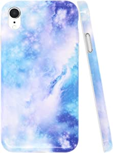 A-Focus Case for iPhone XR Case Blue, Glossy Smooth Marble Series Rock Stone IMD Design Bumper Shock Proof Flexible Slim TPU Rubber Case for iPhone XR 2018 6.1 inch Glossy Galaxy Blue