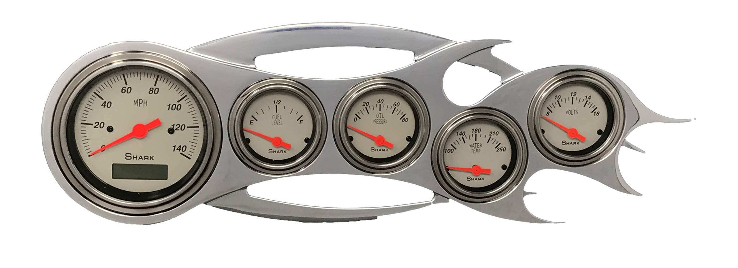 Universal Flame - 5 Gauge Dash Cluster Panel - Programmable Shark by Dolphin Gauges